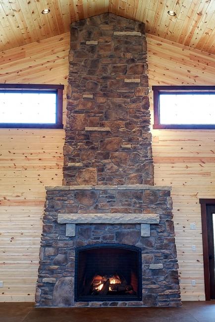 24' stone fireplace